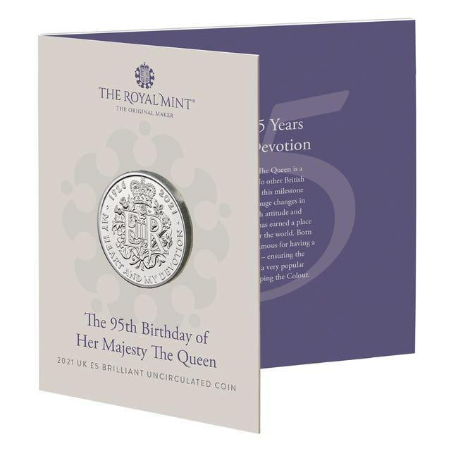 One of the new commemorative coins, 95 of which will be given to 95 people turning 95 years old, to celebrate the 95th birthday of the Queen this year