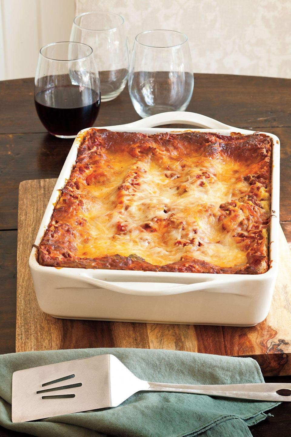 """<p><strong>Recipe: <a href=""""https://www.southernliving.com/syndication/vanessas-make-ahead-beefy-lasagna"""" rel=""""nofollow noopener"""" target=""""_blank"""" data-ylk=""""slk:Vanessa's Make-Ahead Beefy Lasagna"""" class=""""link rapid-noclick-resp"""">Vanessa's Make-Ahead Beefy Lasagna</a></strong></p> <p>For many families, lasagna is a Christmas Eve tradition. This year, prep and freeze this classic recipe up to three months in advance.</p>"""