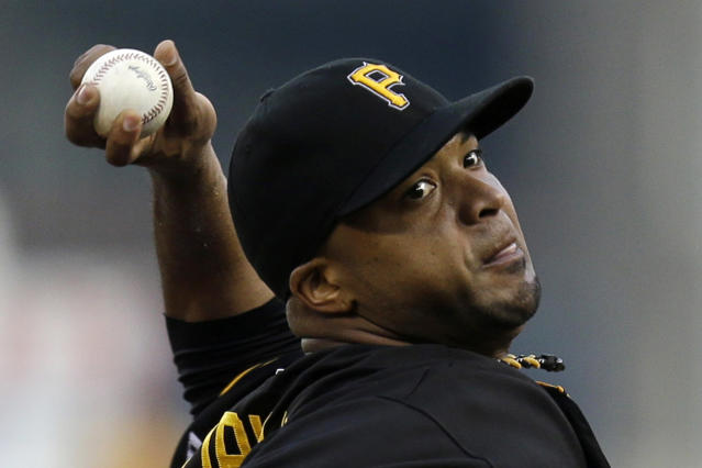 Pittsburgh Pirates starting pitcher Francisco Liriano (47) delivers during the first inning of a baseball game against the St. Louis Cardinals in Pittsburgh Friday, Aug. 30, 2013. (AP Photo/Gene J. Puskar)