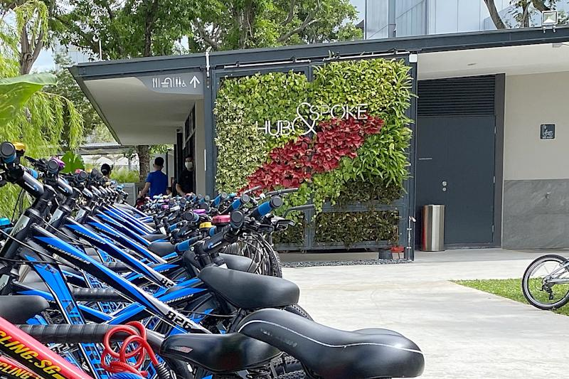 The Hub & Spoke pit stop outside Changi Airport's Terminal 2 offers services including showers, a DIY bicycle repair station, bicycle lockers as well as a cafe. (PHOTO: Dhany Osman / Yahoo News Singapore)