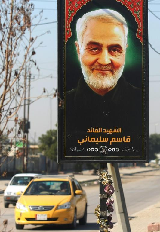 A poster of late Iranian Revolutionary Guards commander Qasem Soleimani in Iraq's capital Baghdad
