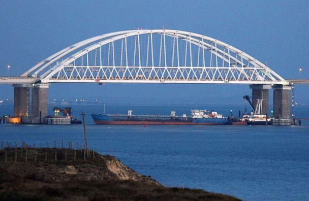 PHOTO: A view of the Crimean Bridge across the Kerch Strait is closed for the passage of civil vessels after there was reportedly an altercation between Russian and Ukrainian ships, Nov. 25, 2018. (TASS via ZUMA Press)
