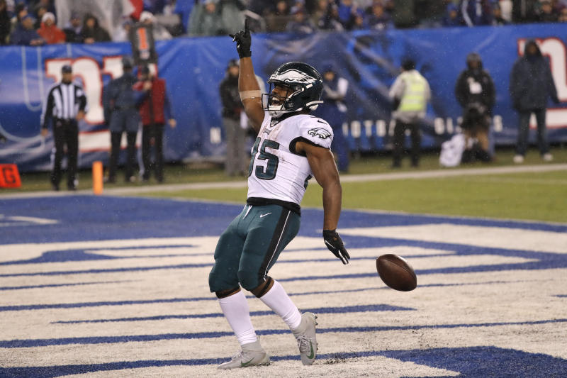 Philadelphia Eagles running back Boston Scott (35) celebrates scoring a touchdown in the second half of an NFL football game against the New York Giants, Sunday, Dec. 29, 2019, in East Rutherford, N.J. (AP Photo/Seth Wenig)