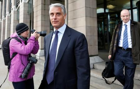 FILE PHOTO: Then UBS CEO Andrea Orcel leaves a UK parliamentary inquiry into Libor interest rates in London