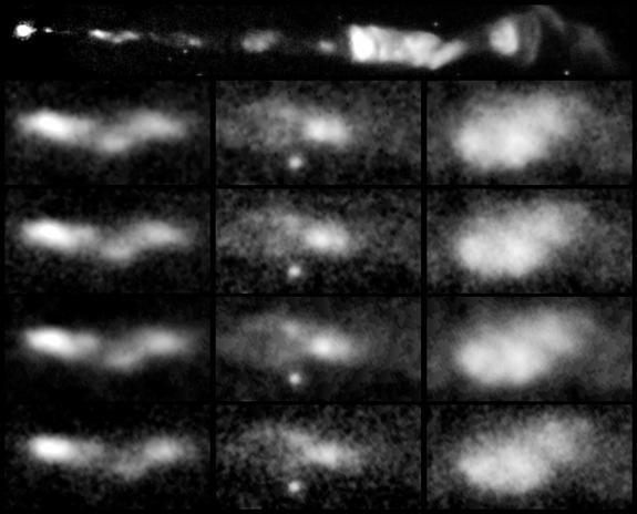 This sequence of images, taken over a 13-year span by NASA's Hubble Space Telescope, reveals changes in a black-hole-powered jet of hot gas in the giant elliptical galaxy M87.