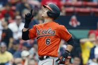 Baltimore Orioles' Ryan Mountcastle celebrates his two-run home run during the first inning of a baseball game against the Boston Red Sox, Saturday, Sept. 18, 2021, in Boston. (AP Photo/Michael Dwyer)