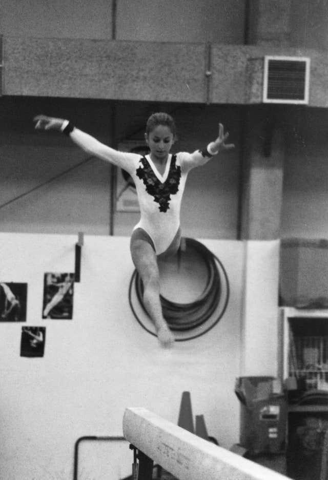 Claire Heafford in competition as a young gymnast