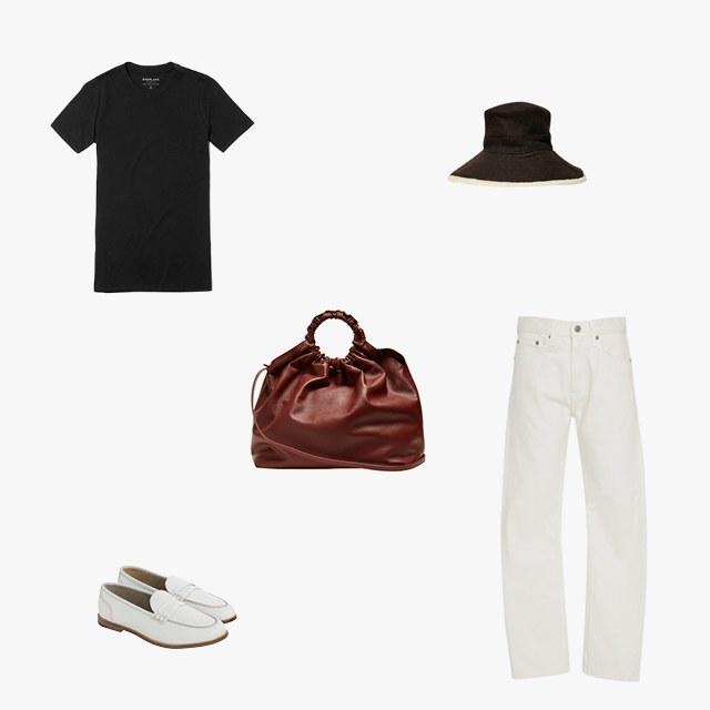 Everlane the cotton crew T-shirt, $16, everlane.com; Brock Collection Wright mid-rise slim-leg jeans, $475, modaoperandi.com; Hermès cashmere-angora bucket hat, $315, kennedynewyork.com; The Row double circle XL leather bag, $2,690, matchesfashion.com; J.Crew Ryan leather penny loafers, $158, jcrew.com