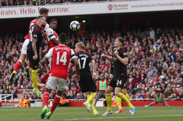 """Britain Football Soccer - Arsenal v Manchester City - Premier League - Emirates Stadium - 2/4/17 Arsenal's Shkodran Mustafi scores their second goal Reuters / Eddie Keogh Livepic EDITORIAL USE ONLY. No use with unauthorized audio, video, data, fixture lists, club/league logos or """"live"""" services. Online in-match use limited to 45 images, no video emulation. No use in betting, games or single club/league/player publications. Please contact your account representative for further details."""