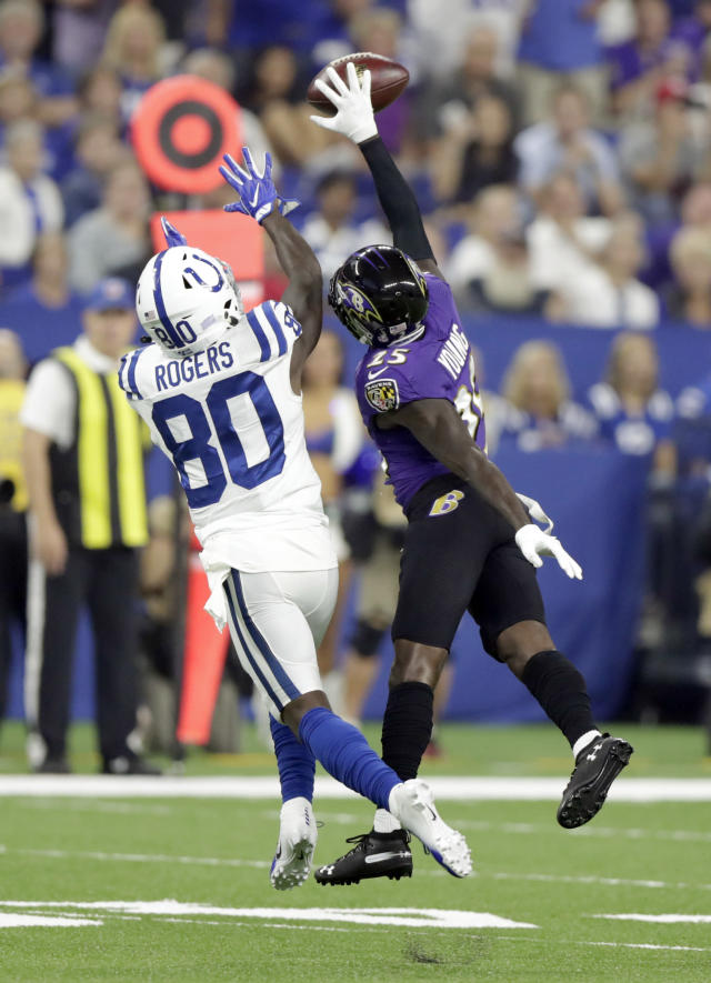 Baltimore Ravens cornerback Tavon Young (25) breaks up a pass intended for Indianapolis Colts wide receiver Chester Rogers (80) in the first half of an NFL preseason football game in Indianapolis, Monday, Aug. 20, 2018. (AP Photo/Michael Conroy)