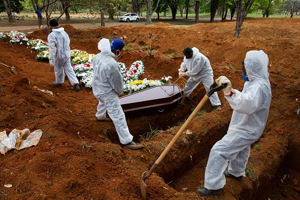 Cemetery workers in protective suits bury a victim of coronavirus at the Vila Formosa cemetery in Sao Paulo, Brazil.
