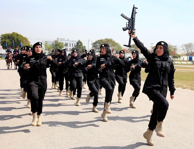 <p>Female members of a police commando unit march during a ceremony on International Women's Day at the police headquarters in Islamabad, Pakistan, March 8, 2018. (Photo: Faisal Mahmood/Reuters) </p>
