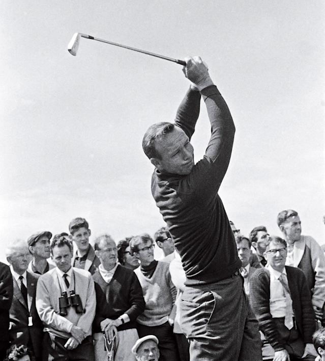 """<div class=""""caption""""> <strong>Legions of golfers copied Palmer's go-for-broke style.</strong> </div> <cite class=""""credit"""">Photo by Bob Thomas/Getty Images</cite>"""