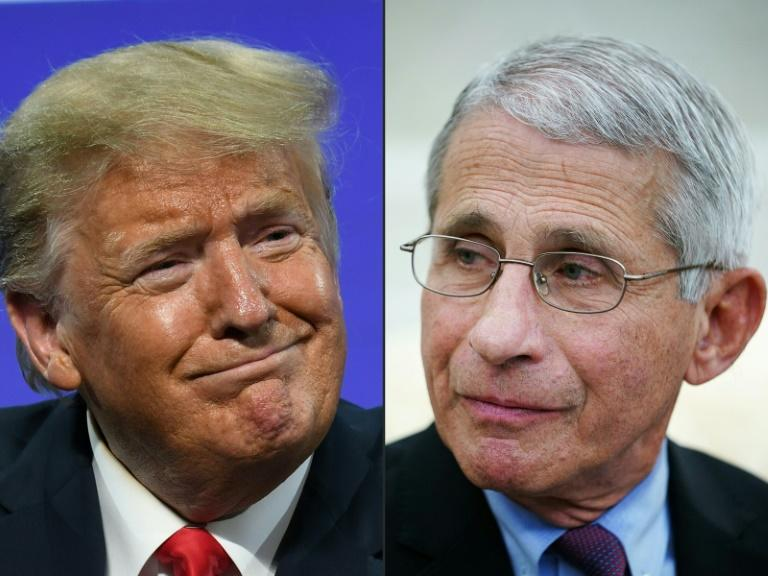 """""""In my nearly five decades of public service, I have never publicly endorsed any political candidate,"""" said Dr. Anthony Fauci (R), here with president Trump"""