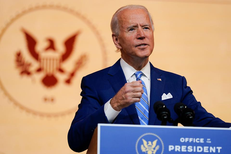 <p>President-elect Joe Biden delivers a speech the day before Thanksgiving on 25 November</p> (AP)