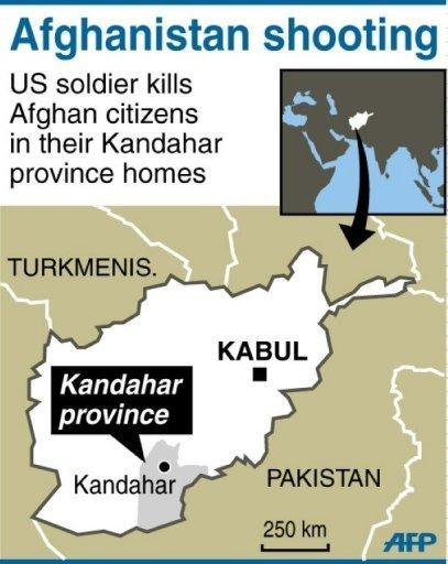 Map of Afghanistan showing Kandahar province, where a US soldier killed at least 16 Afghans in a shooting spree