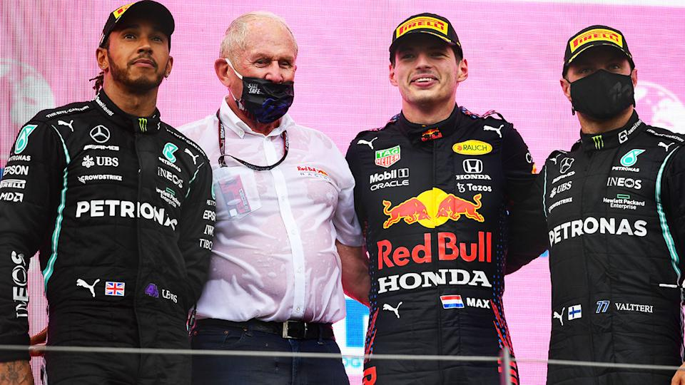 Lewis Hamilton, Max Verstappen and Valtteri Bottas, pictured here on the podium after the Styrian Grand Prix.
