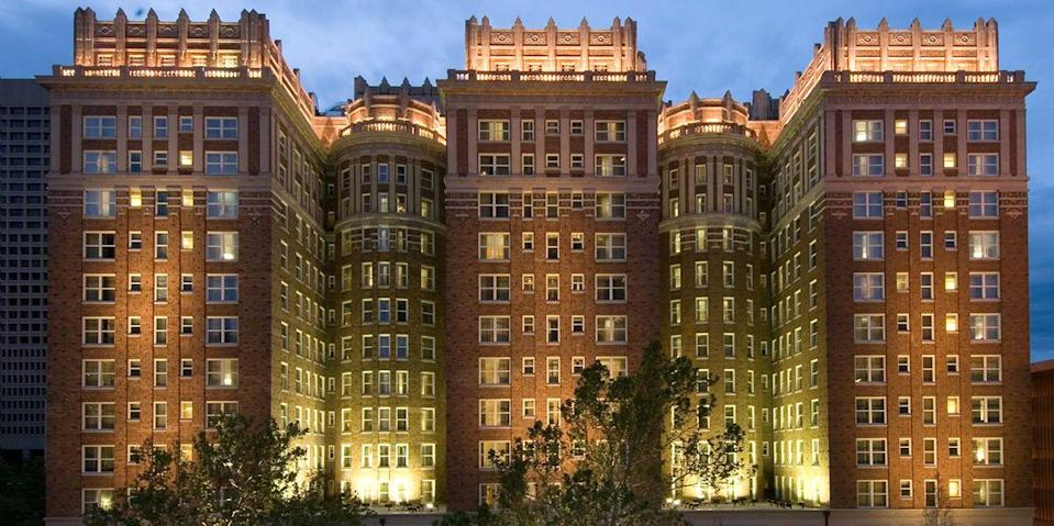 """<p>Built in 1911 by oilman W.B. Skirvin, the <a href=""""https://go.redirectingat.com?id=74968X1596630&url=https%3A%2F%2Fwww.tripadvisor.com%2FHotel_Review-g51560-d635098-Reviews-The_Skirvin_Hilton_Oklahoma_City-Oklahoma_City_Oklahoma.html&sref=https%3A%2F%2Fwww.redbookmag.com%2Fabout%2Fg34149750%2Fmost-historic-hotels%2F"""" rel=""""nofollow noopener"""" target=""""_blank"""" data-ylk=""""slk:Skirvin"""" class=""""link rapid-noclick-resp"""">Skirvin</a> has long been the social hub of Oklahoma City. This block-long red brick <a href=""""https://www.bestproducts.com/fun-things-to-do/g2748/most-haunted-hotels-in-america/"""" rel=""""nofollow noopener"""" target=""""_blank"""" data-ylk=""""slk:hotel"""" class=""""link rapid-noclick-resp"""">hotel</a>, now part of the Hilton Hotel Group, is still the place to be, whether you're having a cocktail in the Red Piano Lounge or dinner in the <a href=""""https://www.tripadvisor.com/Restaurant_Review-g51560-d1315277-Reviews-Park_Avenue_Grill_Skirvin_Hilton-Oklahoma_City_Oklahoma.html"""" rel=""""nofollow noopener"""" target=""""_blank"""" data-ylk=""""slk:Park Avenue Grill"""" class=""""link rapid-noclick-resp"""">Park Avenue Grill</a>. </p>"""