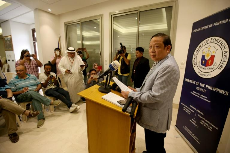 Philippine Ambassador in Kuwait Renato Pedro Ovila speaks during a press conference at the Philippines embassy in Kuwait City on April 21, 2018