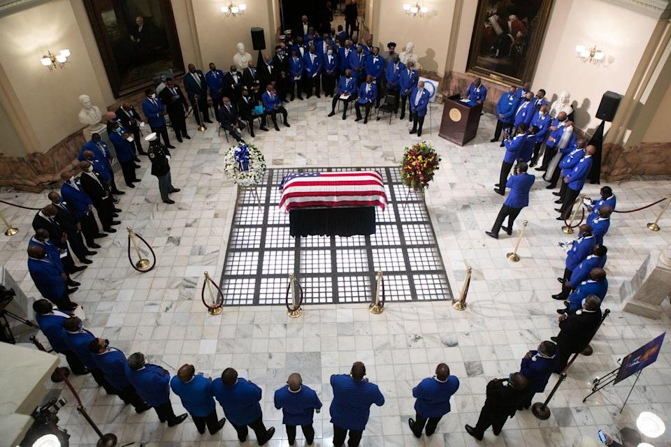 <p>Members of the Phi Beta Sigma Fraternity, of which Lewis was a member, surrounded the Congressman's flag-draped casket at the Georgia State Capitol. </p>
