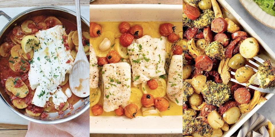 """<p>Our favourite white <a href=""""https://www.delish.com/uk/fish-recipes/"""" rel=""""nofollow noopener"""" target=""""_blank"""" data-ylk=""""slk:fish"""" class=""""link rapid-noclick-resp"""">fish</a>? It has to be cod. Easy to cook, versatile and delicious with just about anything, we're big cod fans (and we're not just talking about the battered kind). Whether it's <a href=""""https://www.delish.com/uk/cooking/recipes/a37078222/chorizo-cod-traybake/"""" rel=""""nofollow noopener"""" target=""""_blank"""" data-ylk=""""slk:Chorizo & Cod Traybake,"""" class=""""link rapid-noclick-resp"""">Chorizo & Cod Traybake, </a><a href=""""https://www.delish.com/uk/cooking/recipes/a30622495/thai-fish-cakes/"""" rel=""""nofollow noopener"""" target=""""_blank"""" data-ylk=""""slk:Thai Fish Cakes"""" class=""""link rapid-noclick-resp"""">Thai Fish Cakes</a> or <a href=""""https://www.delish.com/uk/cooking/recipes/a32137861/fish-finger-sandwich/"""" rel=""""nofollow noopener"""" target=""""_blank"""" data-ylk=""""slk:Homemade Fish Fingers"""" class=""""link rapid-noclick-resp"""">Homemade Fish Fingers</a>, cod is pretty much limitless. Need some <a href=""""https://www.delish.com/uk/cooking/recipes/g33965648/dinner-inspiration/"""" rel=""""nofollow noopener"""" target=""""_blank"""" data-ylk=""""slk:dinner inspiration"""" class=""""link rapid-noclick-resp"""">dinner inspiration</a>? We've got 17 delicious and super easy-to-make cod recipes for you to give a go, and we're convinced you'll love every single one! </p>"""