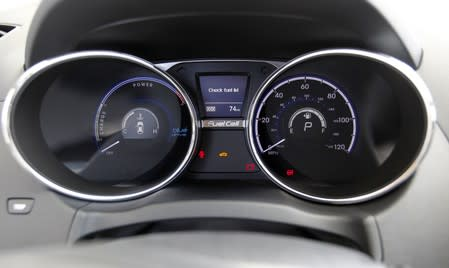 The dashboard of Hyundai Tucson hydrogen fuel cell electric vehicle in Newport Beach, California