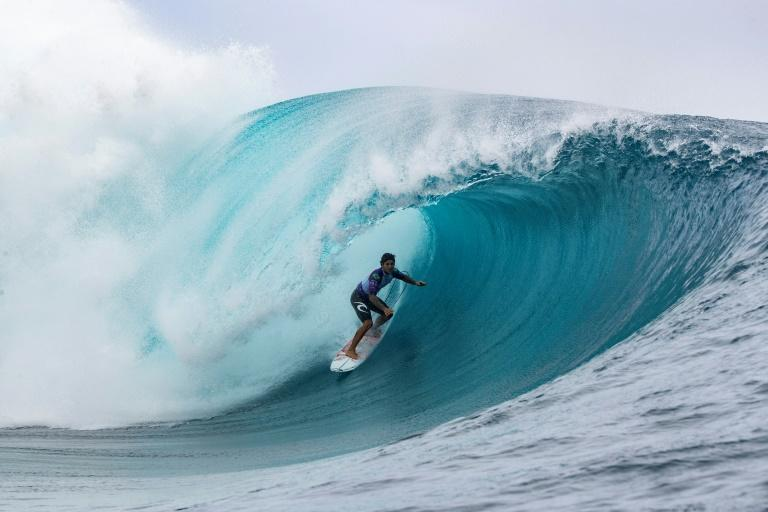 Brazilian world champion Gabriel Medina rides the waves at  Teahupoo, which has been chosen to host surfing events at the 2024 Paris Olympics
