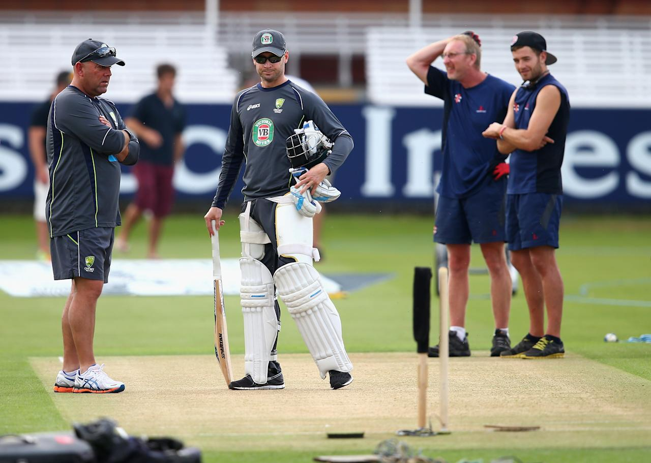 LONDON, ENGLAND - JULY 17:  Darren Lehmann, coach of Australia, and Michael Clarke of Australia inspect the pitch during an Australian Nets Session at Lord's Cricket Ground on July 17, 2013 in London, England.  (Photo by Ryan Pierse/Getty Images)