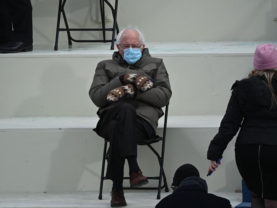 <p>Bernie Sanders admits that yes, he has seen his viral inauguration mitten memes</p> (Getty Images)