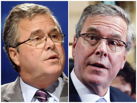 A combination of file photos of former Florida Governor Jeb Bush shows him speaking in 2012 and campaigning in Hudson, New Hampshire in 2015