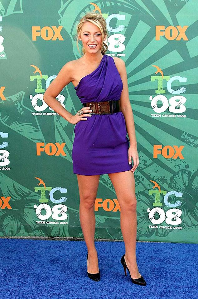 """Teen Choice Award winner Blake Lively (Breakout Female TV Star) popped a pose in a belted blue one shoulder dress and black heels. Frazer Harrison/<a href=""""http://www.gettyimages.com/"""" target=""""new"""">GettyImages.com</a> - August 3, 2008"""