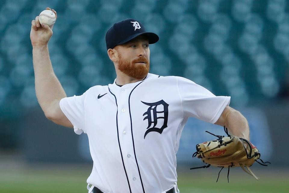 Detroit Tigers starting pitcher Spencer Turnbull pitches during the second inning against the Cleveland Indians at Comerica Park, Sept. 19, 2020.