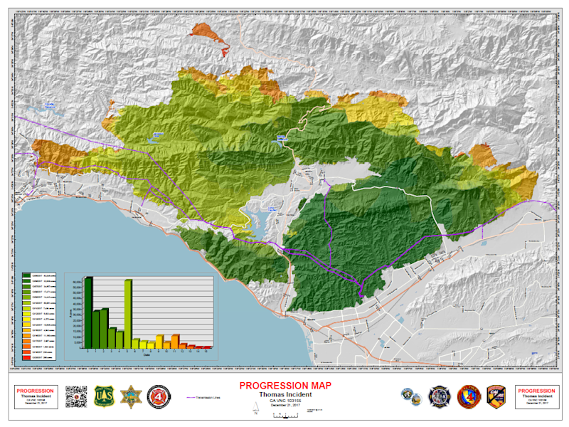 Show California Map.Fire In California Map Shows Thomas Fire On Track To Break Record
