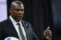 Michigan State head coach Mel Tucker talks to reporters during an NCAA college football news conference at the Big Ten Conference media days, at Lucas Oil Stadium in Indianapolis, Friday, July 23, 2021. (AP Photo/Michael Conroy)