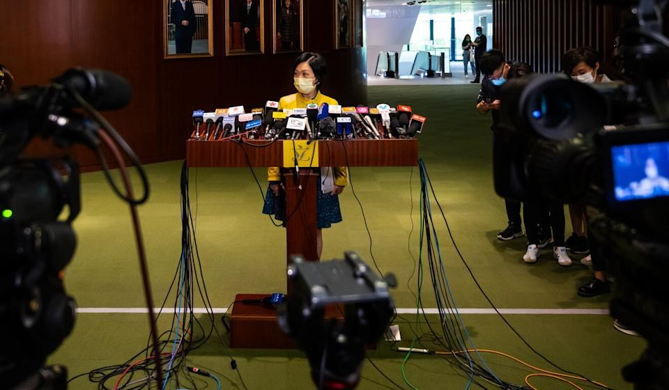 Regina Ip Lau Suk-yee, legislator and member of New People's Party, speaks during a news conference at the Legislative Council in Hong Kong on November 11. Photo: Billy HC Kwok/Bloomberg