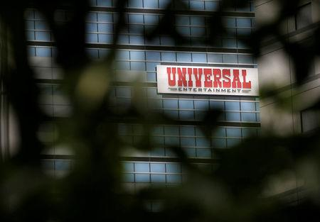FILE PHOTO: The logo of Universal Entertainment Corp. is seen at the company's headquarters in Tokyo, Japan, June 29, 2017. REUTERS/Toru Hanai/File Photo
