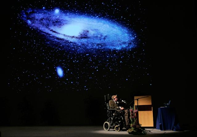 "<p>British physicist Stephen Hawking delivers a lecture on ""The Origin of the Universe"" at the Heysel conference hall in Brussels, Belgium on May 20, 2007. (Photo: Francois Lenoir/Reuters) </p>"