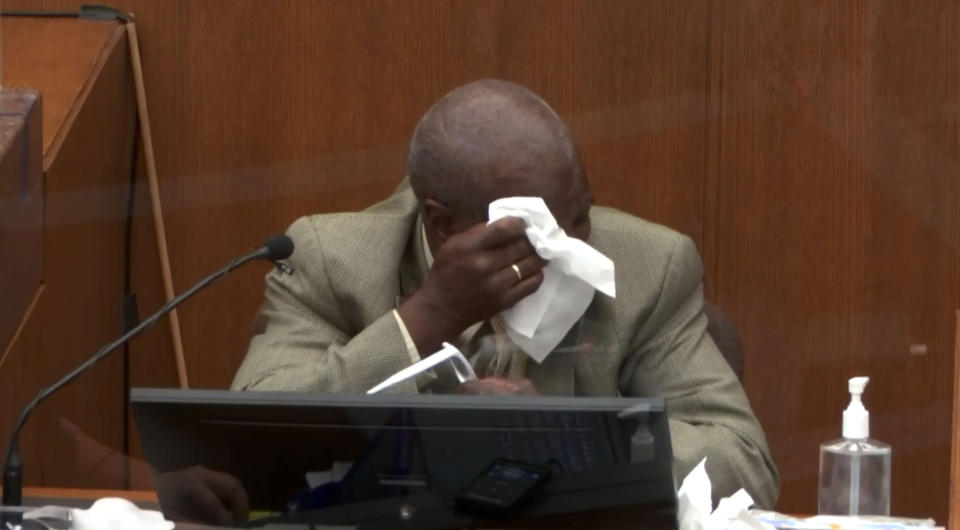 Charles McMillian testifies in the Derek Chauvin trial in Minneapolis, MN. on March 31, 2021. (Court TV via Reuters Video)