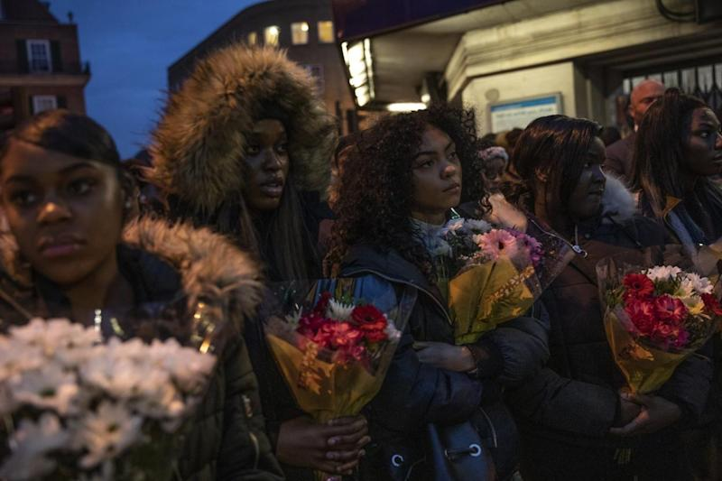 Friends and family gather at the scene where Malcolm Mide-Madariola was killed, and pay their respects (Getty Images)