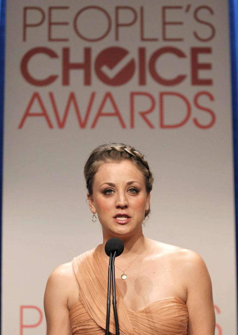 Actress Kaley Cuoco speaks during the nominations announcement for People's Choice Awards 2012, Tuesday, Nov. 8, 2011, in Beverly Hills, Calif.  The People's Choice Awards 2012 will be held Jan. 11, 2012. (AP Photo/Matt Sayles)