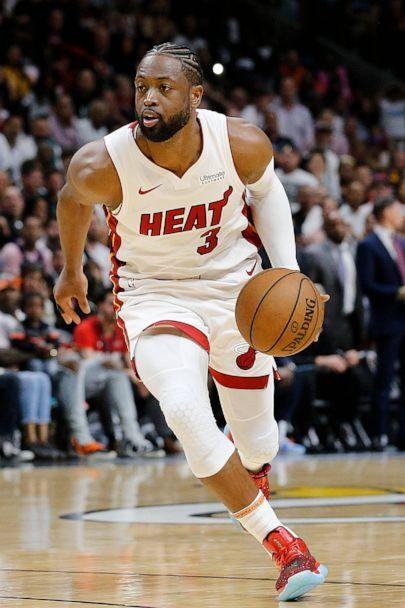 PHOTO: In this April, 9, 2019, file photo, Dwyane Wade of the Miami Heat is shown in action against the Philadelphia 76ers during the second half at American Airlines Arena in Miami. (Michael Reaves/Getty Images, FILE)