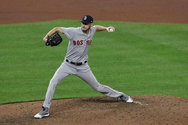 Chris Sale pitches against the Orioles on May 08, 2019, in Baltimore. (Photo by Patrick Smith/Getty Images)