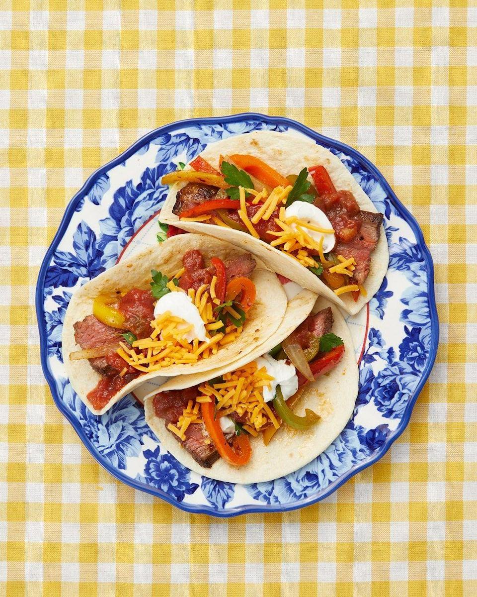 """<p>Savory Worcestershire sauce, zingy lime juice, and a hint of sugar balance out the heat from the cumin, chili powder, and red pepper flakes in this tasty marinade. You can use it for the meat as well as the vegetable mixture in these fajitas. </p><p><a href=""""https://www.thepioneerwoman.com/food-cooking/recipes/a11595/beef-fajitas/"""" rel=""""nofollow noopener"""" target=""""_blank"""" data-ylk=""""slk:Get Ree's recipe."""" class=""""link rapid-noclick-resp""""><strong>Get Ree's recipe.</strong></a></p><p><a class=""""link rapid-noclick-resp"""" href=""""https://go.redirectingat.com?id=74968X1596630&url=https%3A%2F%2Fwww.walmart.com%2Fbrowse%2Fhome%2Fdinnerware-sets%2F4044_623679_639999_489706&sref=https%3A%2F%2Fwww.thepioneerwoman.com%2Ffood-cooking%2Frecipes%2Fg36491151%2Fmarinade-recipes-for-grilling%2F"""" rel=""""nofollow noopener"""" target=""""_blank"""" data-ylk=""""slk:SHOP DINNERWARE"""">SHOP DINNERWARE</a></p>"""