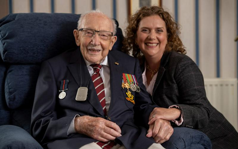 Captain Sir Tom Moore and his daughter, Hannah - Andrew Crowley/The Telegraph