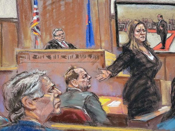 PHOTO: Prosecutor Joan Illuzzi-Orbon uses this court sketch to present her final arguments to Judge James Burke at the New York Criminal Court for Harvey Weinstein's trial of sexual assault in the New York City borough of Manhattan on February 14, 2020. (Jane Rosenberg via Reuters)