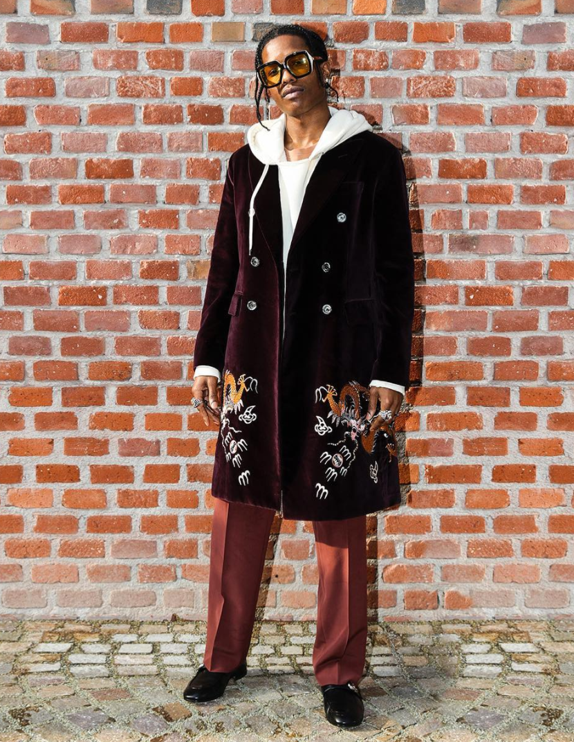 <p>A$AP Rocky wore a full embroidered Gucci outfit. <i>[Photo: Instagram/gucci]</i> </p>