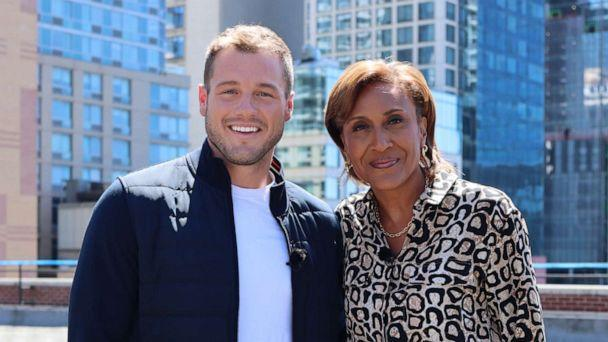 PHOTO: Colton Underwood, the lead on season 23 of 'The Bachelor,' with 'GMA' Co-Anchor Robin Roberts during in interview in April 2021. (ABC News)