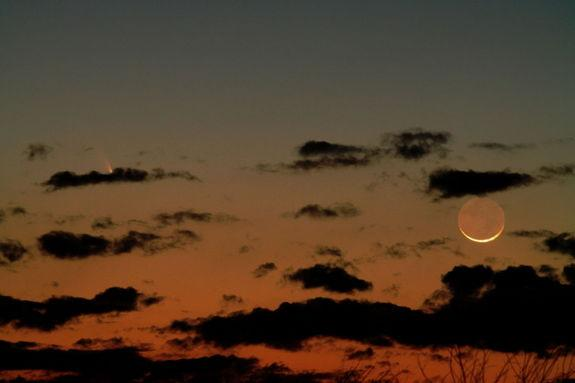 Astrophotographer Joe Shuster sent in a photo of Comet Pan-STARRS and the crescent moon taken in Salem, Missouri, March 12, 2013.