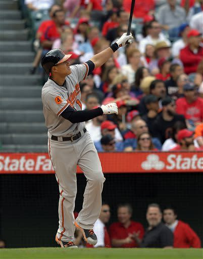 Baltimore Orioles' Manny Machado hits a two-run home run during the fifth inning of a baseball game against the Los Angeles Angels, Sunday, May 5, 2013, in Anaheim, Calif. (AP Photo/Mark J. Terrill)