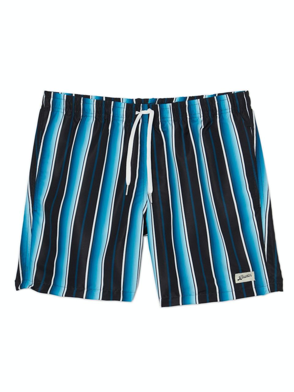"Summer starts the day before Father's Day this year, so gift dad a fresh pair of swim trunks he can wear through September. Get free two-day shipping on this nautical pair from Verishop, plus an extra 25% off as part of the retailer's <a href=""https://www.glamour.com/gallery/verishop-last-minute-gifts?mbid=synd_yahoo_rss"" rel=""nofollow noopener"" target=""_blank"" data-ylk=""slk:birthday sale"" class=""link rapid-noclick-resp"">birthday sale</a>. $85, Verishop. <a href=""https://www.verishop.com/bather/swimsuit/black-stripe-swim-trunk/p4323182215191?color=black_blue"" rel=""nofollow noopener"" target=""_blank"" data-ylk=""slk:Get it now!"" class=""link rapid-noclick-resp"">Get it now!</a>"